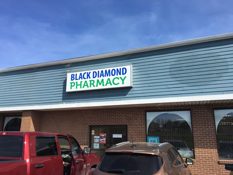 The Black Diamond Pharmacy storefront in Glace Bay, NS