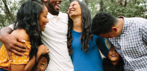 A Family laughing together