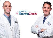 Two pharmacists standing next to each other with the PharmaChoice logo in between