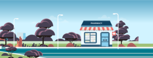 Illustration of a small pharmacy