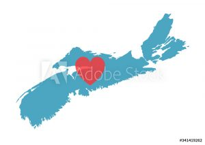 Illustration of Nova Scotia with a heart in the middle
