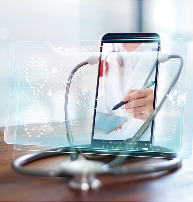 Tablet with stethoscope showing an online healthcare appointment
